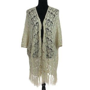 Altar'd State Ivory Open Front Fringe Shawl S/M